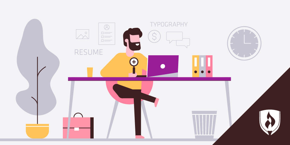 illustration of designer sitting at desk