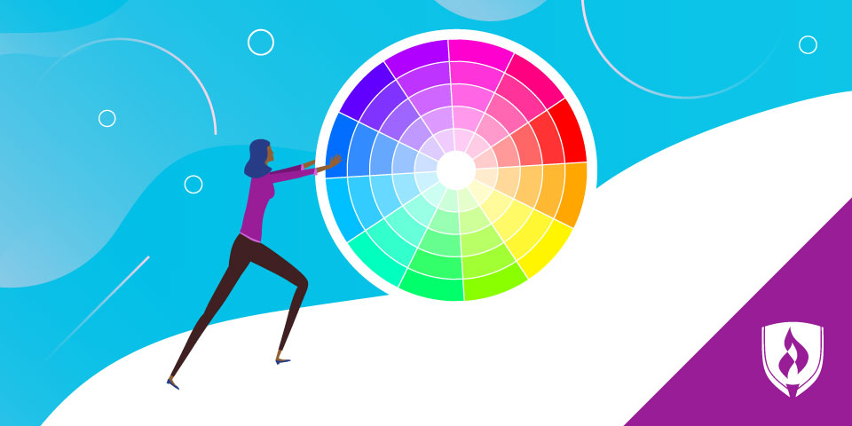 illustration of woman pushing a color wheel up hill