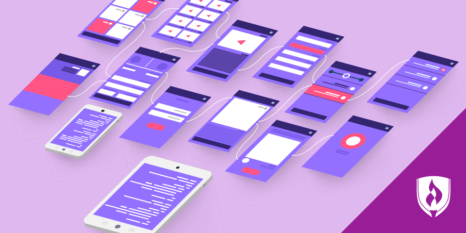 wireframes on different mobile devices