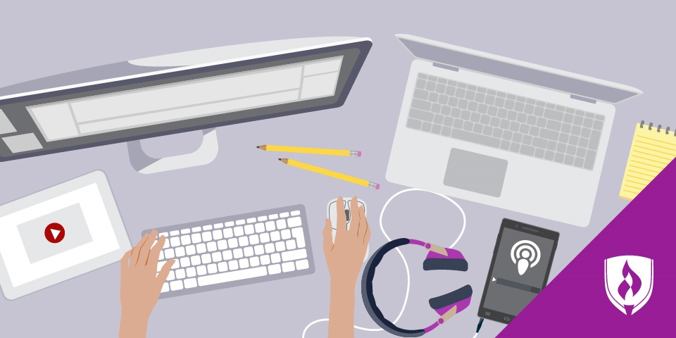 illustration of a top-down view of a desk with pencils, a phone playing a podcast, a laptop, and a monitor