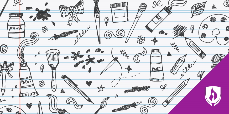 illustrations of various paint brushes, easels, pencils, leaves and bows surrounding the article's title