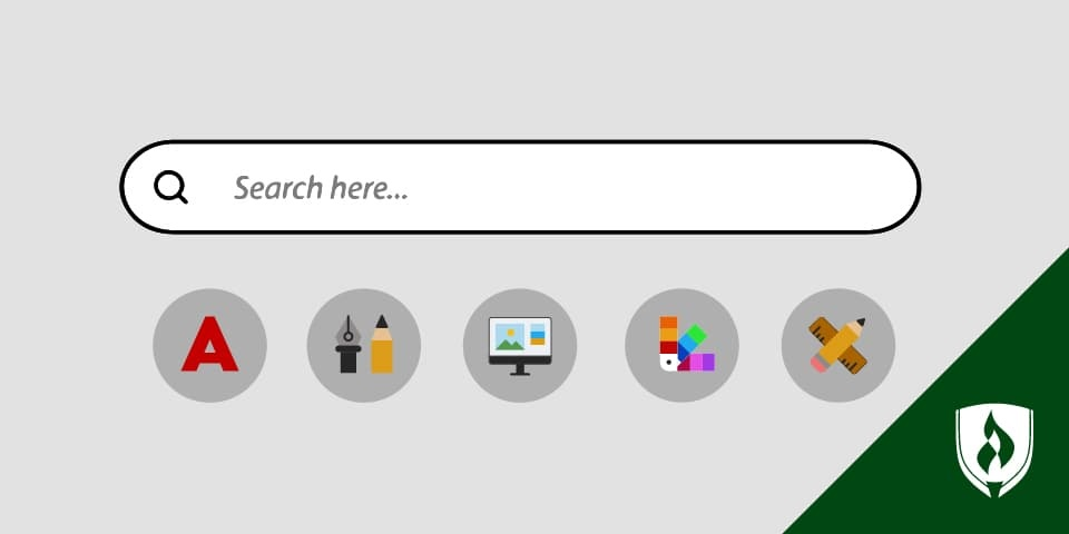 illustration of a search engine with design icons underneath