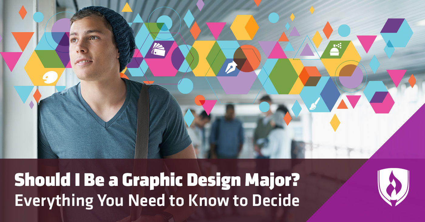 Young male thinking about graphic design