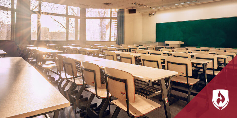 empty classroom with large wooden desks