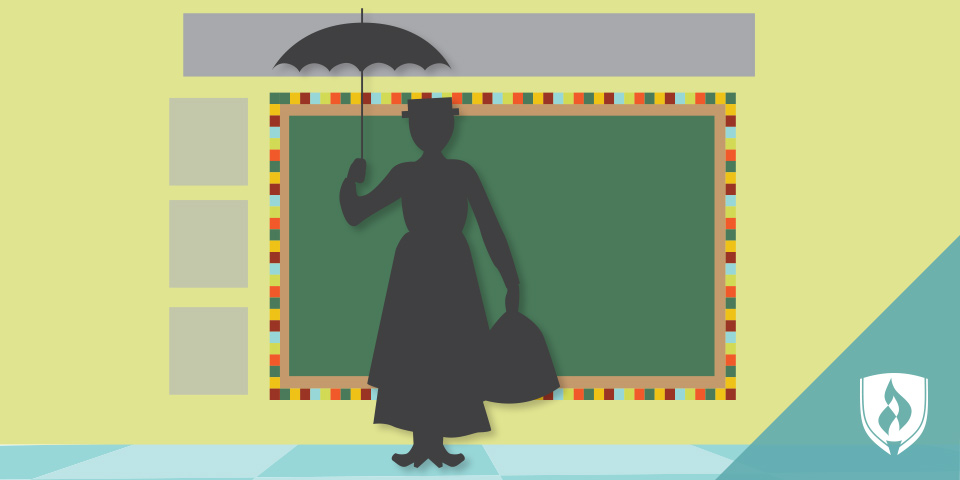 Mary Poppins silhouette in a classroom