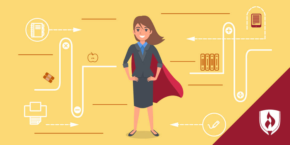 illustrated female with cape with teacher icons around her
