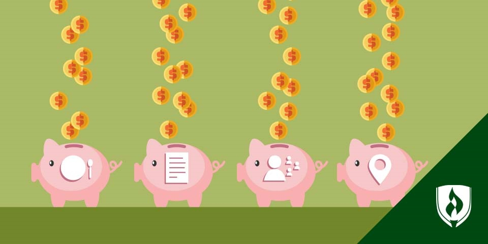 money falling into piggy banks with different childcare symbols