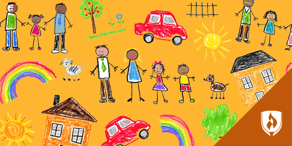 Children's drawings showing different families