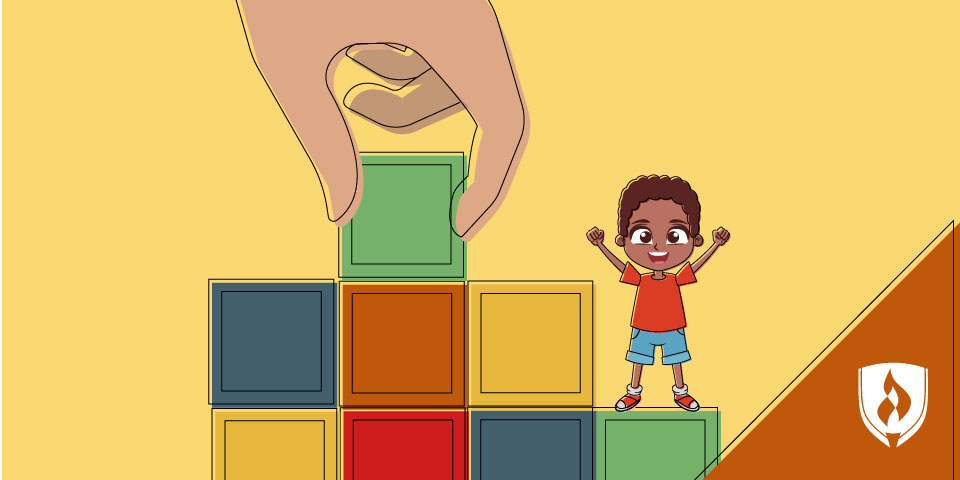 illustrated boy standing on building blocks