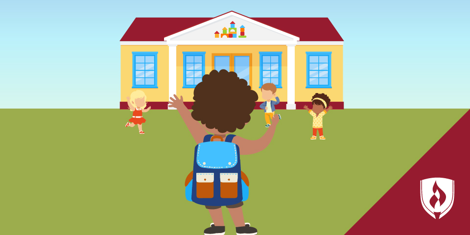 illustration of children playing in front of a school