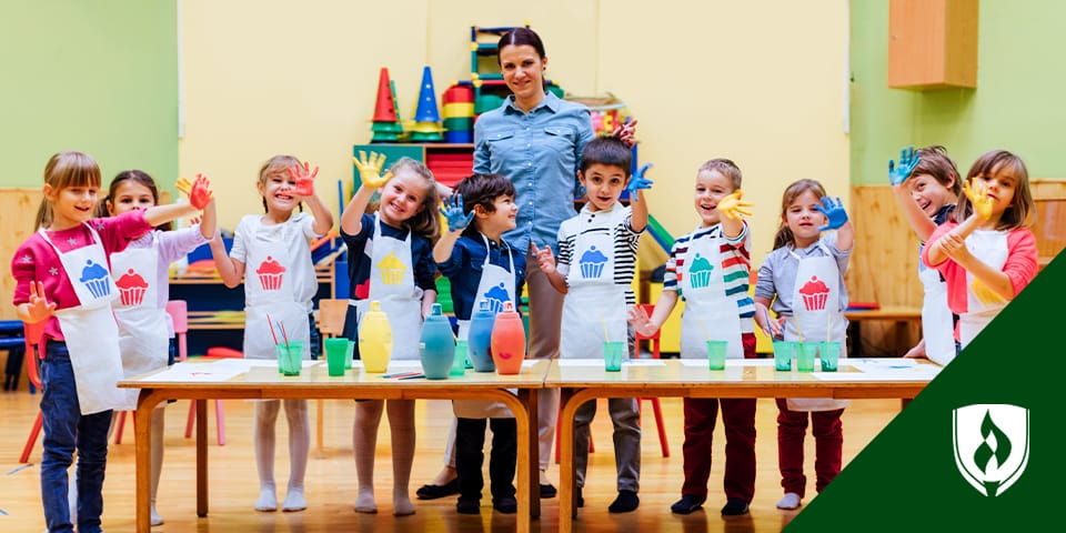 teacher with kids doing art project