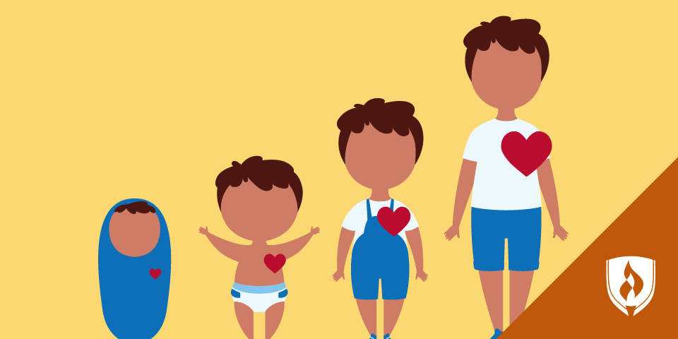 illustration of children at different ages with heart icons