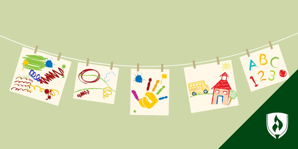 illustration of children's finger paintings hanging on a laundry line
