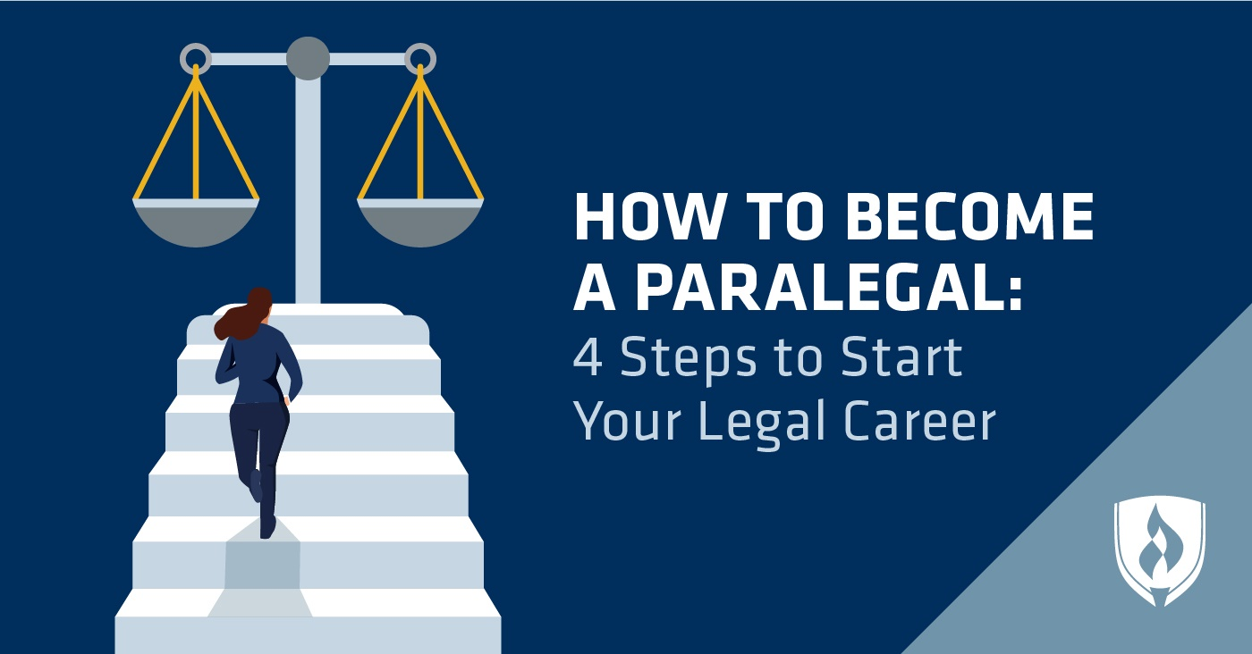 illustration of a paralegal climbing steps up to the scales of justice