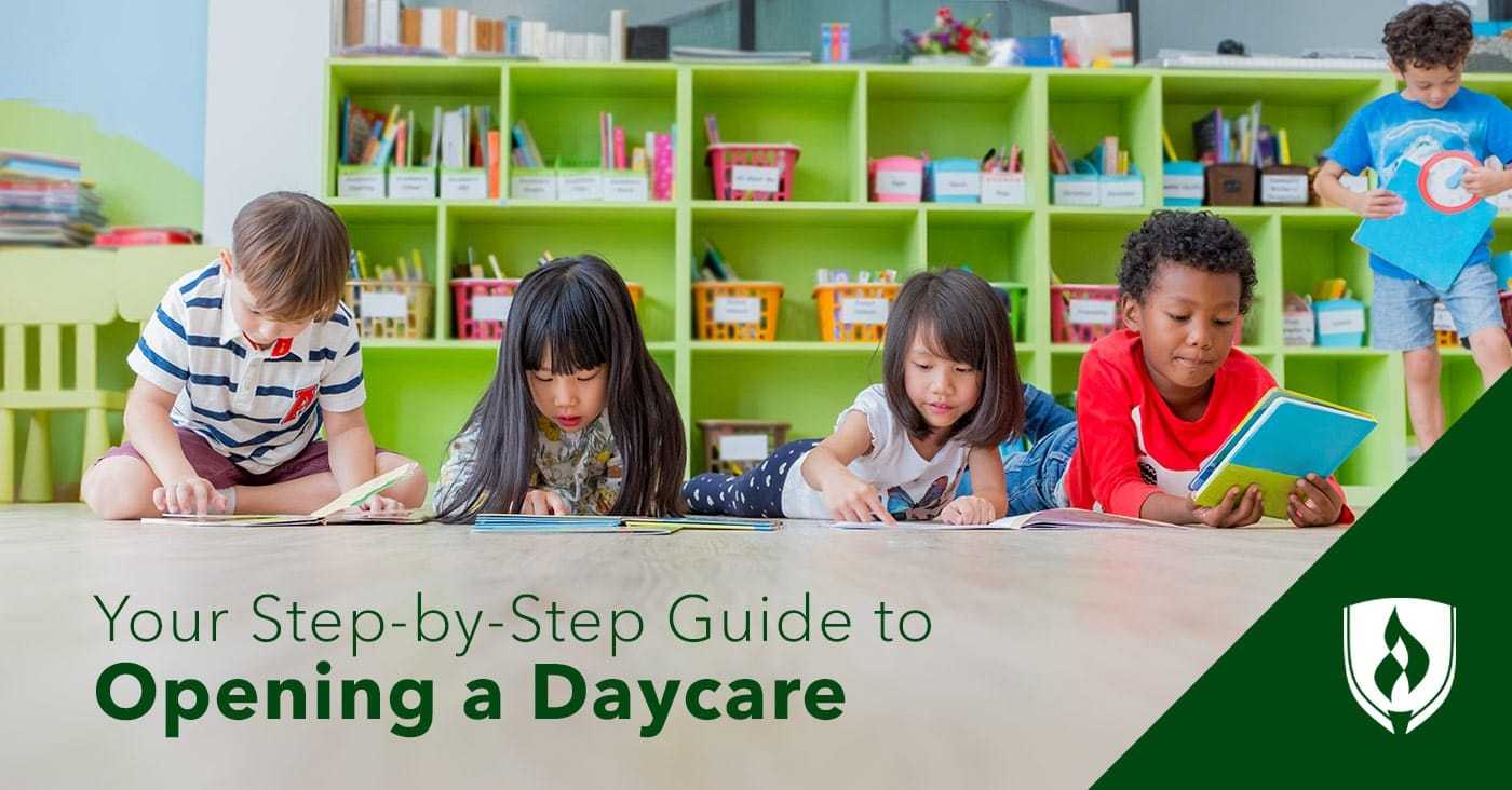 children reading books in daycare setting