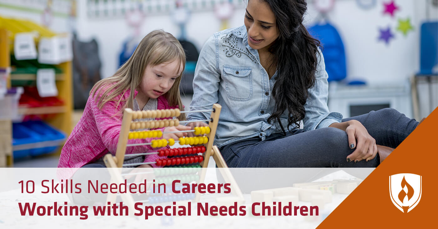 female teacher working with special needs girl