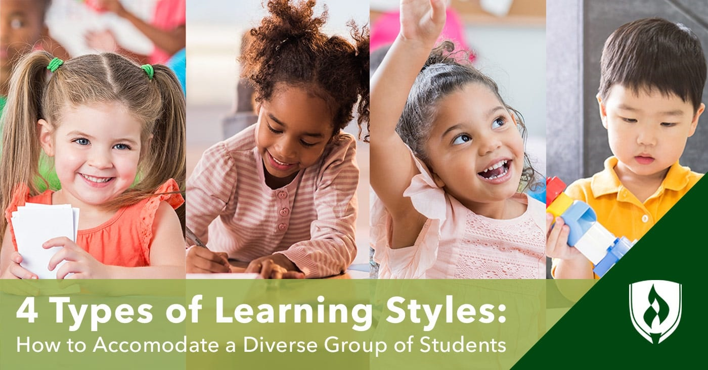 Split panel image of four young students representing different learning styles.