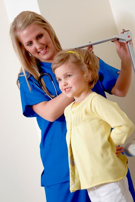 medical assistant with patient