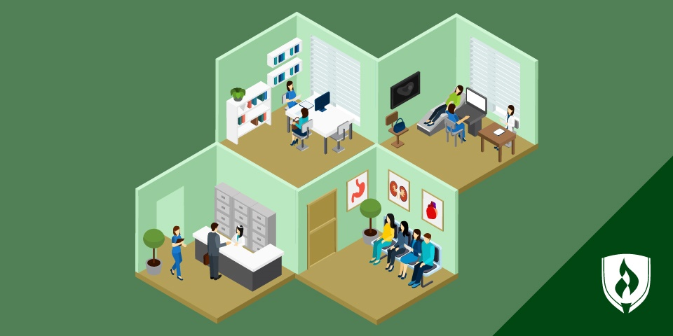 Illustrated hospital showing the path of a medical assistant