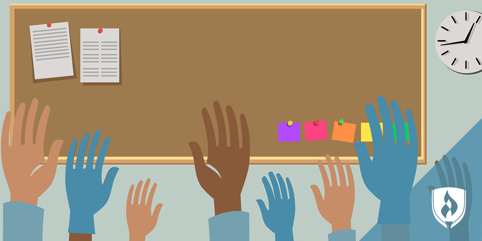 illustrated classroom with many gloved hands raised