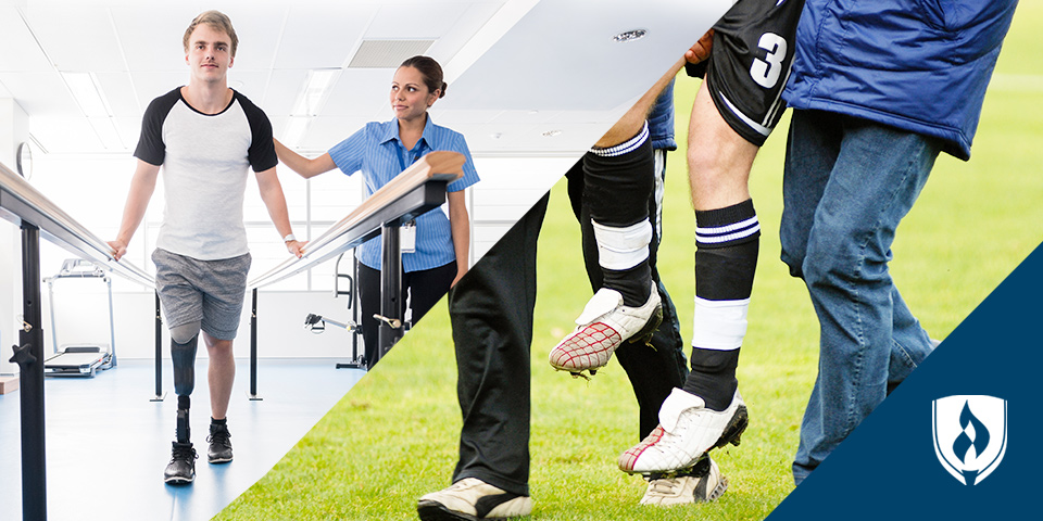 physical therapists working with patient and an athlete
