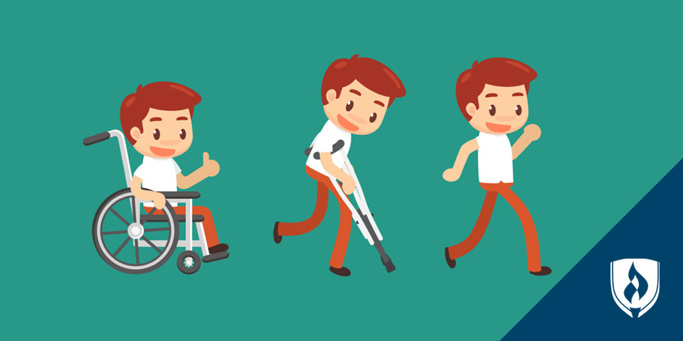 Illustrated man going from a wheelchair, to crutches, to walking