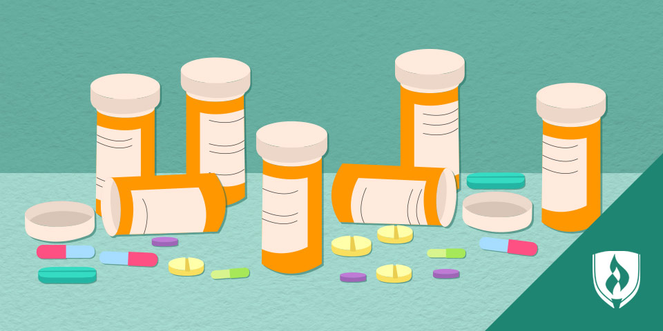 Illustrated pill bottles with many different colored pills