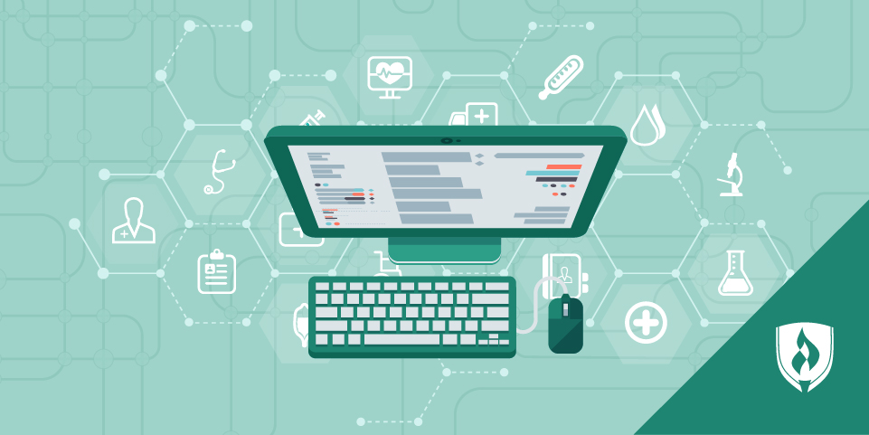 illustrated computer surrounded by healthcare icons