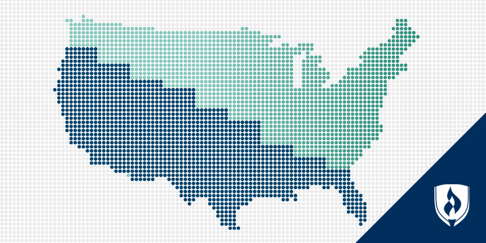 Outline of the continental United States with a lowering bar graph