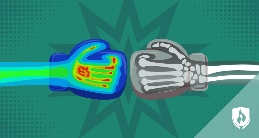 boxing gloves showing X-rays and nuclear imaging