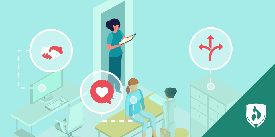 illustrated medical assistant in exam room