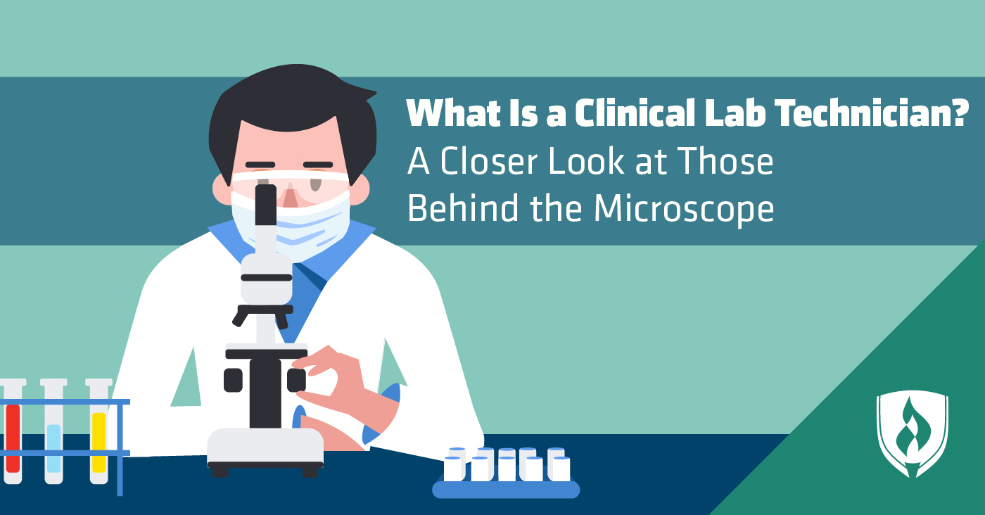 illustration of clinical lab technician looking through microscope