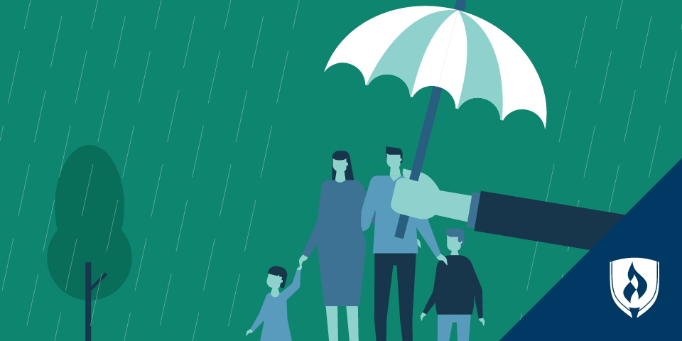illustration of an umbrella covering a family in the rain