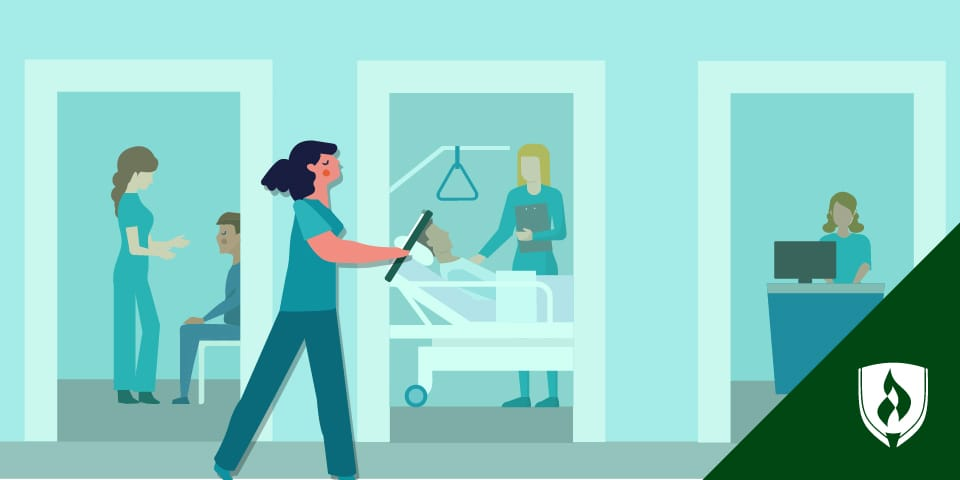 illustrated woman walking through healthcare facility