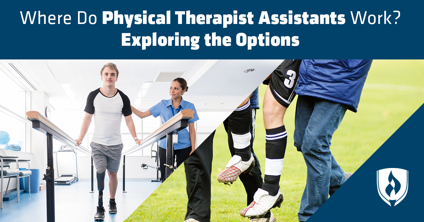 split image showing two physical therapist assistant scenes