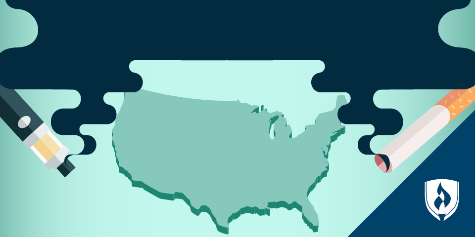 illustration of united states with a vape pen and a cigarette