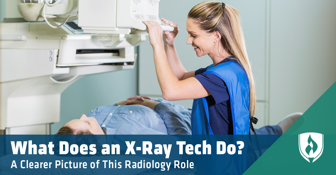 x ray tech preparing patient