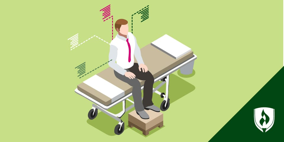 illustration of patient sitting on exam room bed