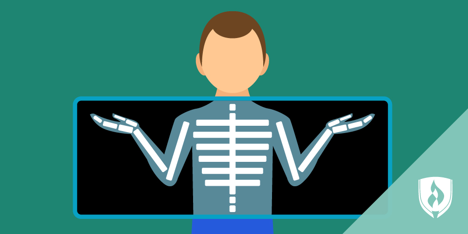 illustration of man standing behind xray machine