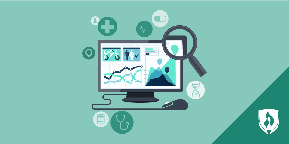 illustration of computer screen with charts and healthcare icons