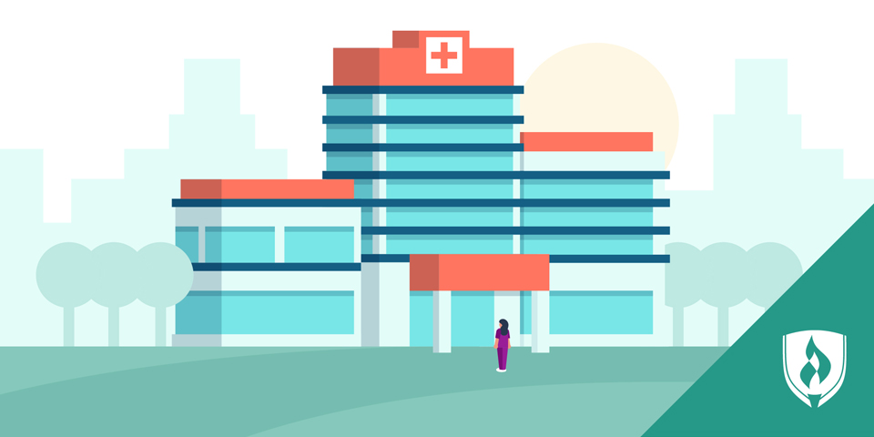 Illustration of a healthcare worker standing outside of a hospital.