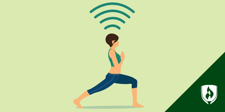 Illustration of woman doing yoga with Wi-Fi lines radiating from her.