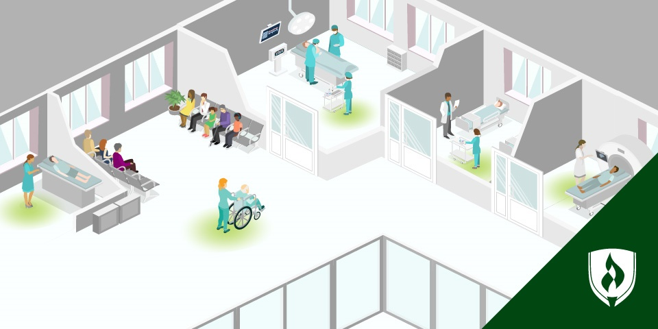 hospital scene showing various healthcare professionals