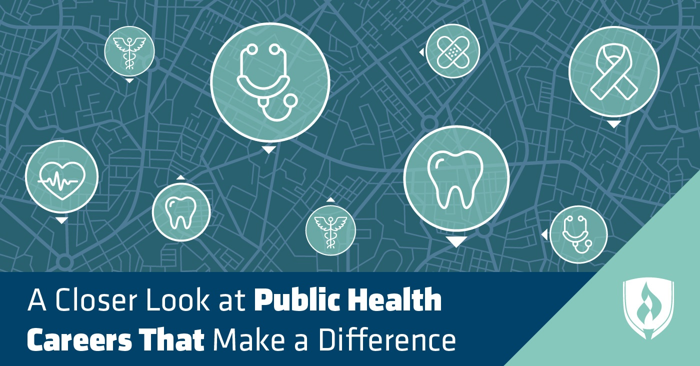 Birdseye view map marked with public health health icons