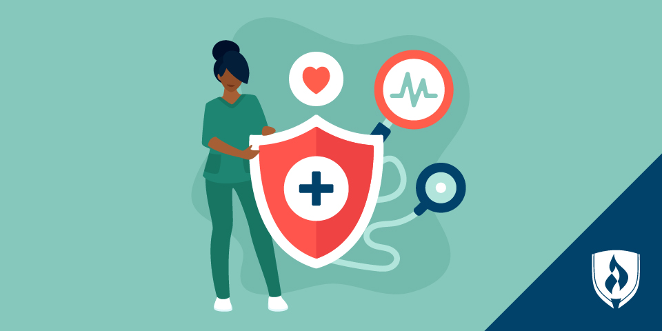 illustration of woman with healthcare icons