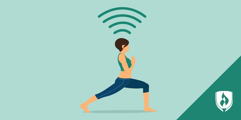 woman doing yoga with wifi symbol above her head