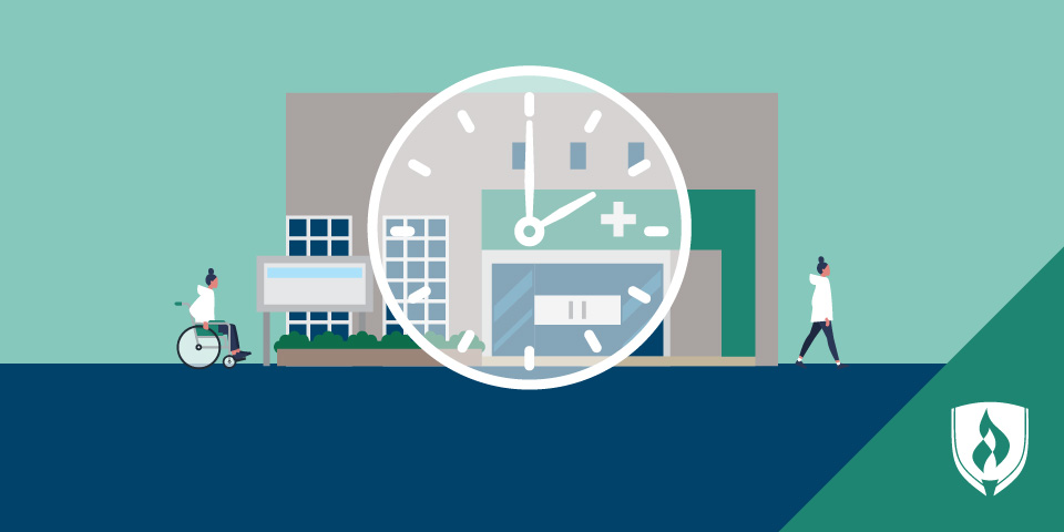 healthcare facility with clock overlayed