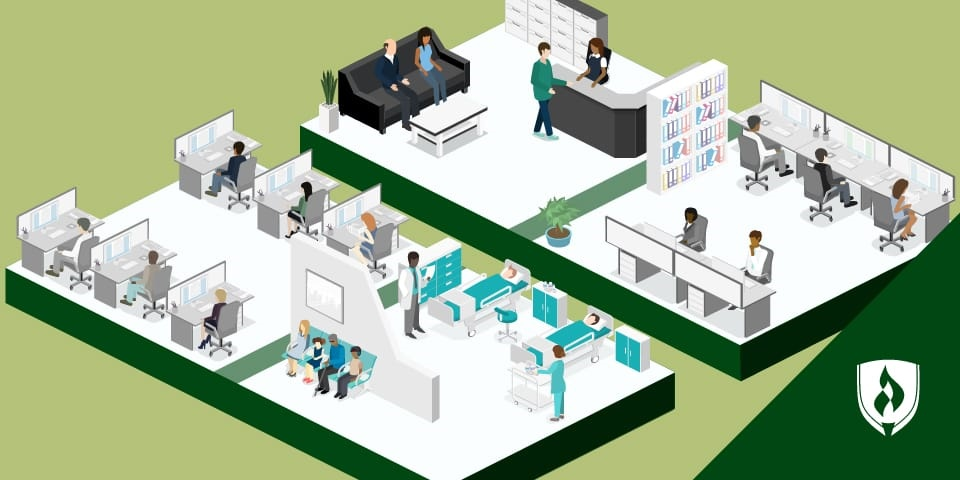 illustration of medical coder work settings including a hospital, office space and reception desk