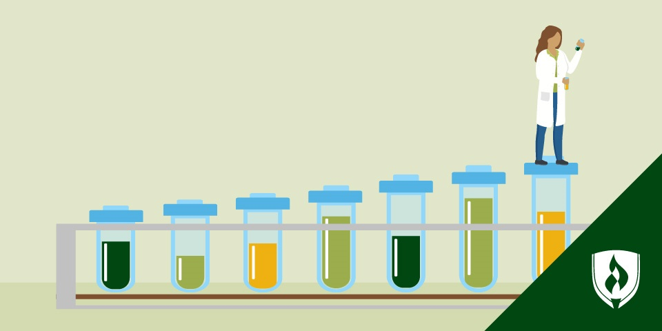 illustration of an epidemiologist standing on steps made of test tubes