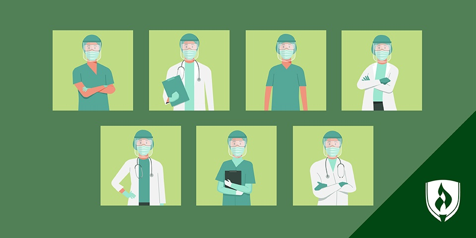 illustration of different professionals in operating room jobs